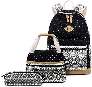 MITOWERMI 青少年女孩背包套装 帆布圆点书包 3 合 1 笔记本电脑背包 黑色