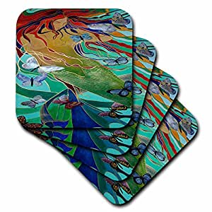 3dRose cst_46759_2 Mermaid and Butterflies-Elusive, Untamed, Art Nouveau, Femininity, Mythology, Butterflies, Mermaid-Soft Coasters, Set of 8
