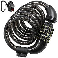 5 位自行车锁电缆锁,带安装支架和 D 形登山扣,高级防盗系缆锁组合适用于自行车,带 7.62 厘米登山扣夹钥匙环