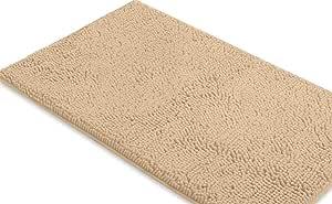 LuxUrux 浴室垫-超柔软毛绒浴室浴室地毯,2.54 厘米雪尼尔超细纤维材料,超吸水性绒浴地毯。 机洗烘干 桦木色 24 x 36 Inch