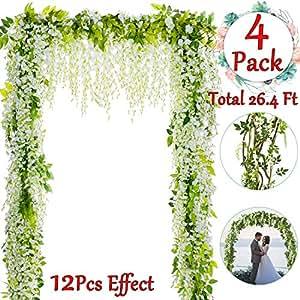 AMENON Qiwoo 4 件 总重 68.07 厘米 人造藤蔓藤花瓶花环花朵串家庭花园户外仪式花朵派对婚礼 2-white Wisteria Vine 4pcs 6.6 Feet