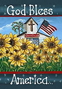 Toland Home Garden Glory Church 28 x 40 Inch Decorative Patriotic God Bless America USA Double Sided House Flag