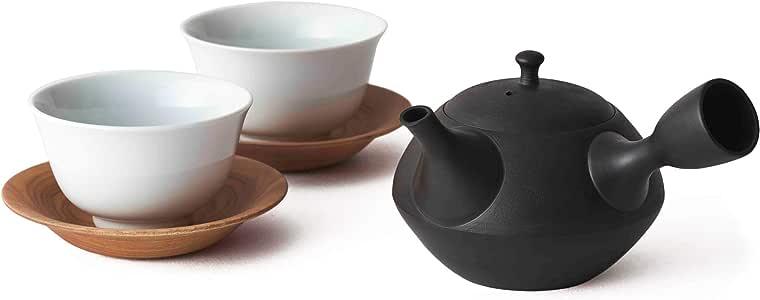 WDH) 茶壶、茶杯2个套装 黑色 急須240ml 湯呑み110ml WDH-0088