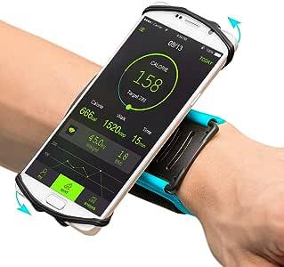VUP 腕带手机支架适用于 iPhone X iphone 88plus 77Plus 6S 5S 6SAMSUNG GALAXY S8PLUS S7edge google Pixel 180° 可旋转非常适合远足、骑行徒步跑步运动臂带 蓝色