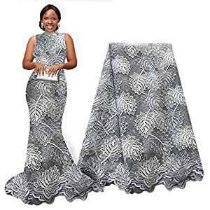 pqdaysun 5 码非洲蕾丝面料,尼日利亚法国串珠薄纱面料 灰色 5 yards F50705-grey