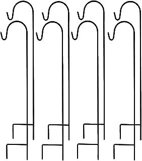 高级金属牧羊人挂钩,太阳能灯花园桩,4 件套 Black 8 Pack AM6825
