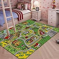 JACKSON 玩具车大号儿童地毯,带防滑背衬的汽车地毯,132.08 厘米 x 187.96 厘米儿童房、游乐室和教室汽车地毯,男女皆宜的*有趣的游戏毯
