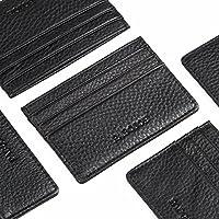 钱包卡夹零钱袋多槽超薄黑色皮革卡包 极简主义