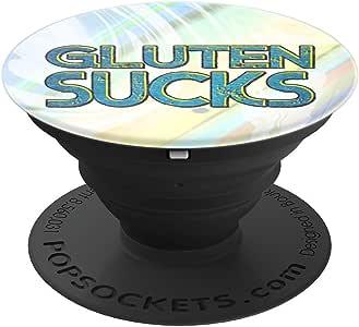 Gluten sucks - PopSockets 手机和平板电脑抓握支架260027  Gluten sucks 黑色