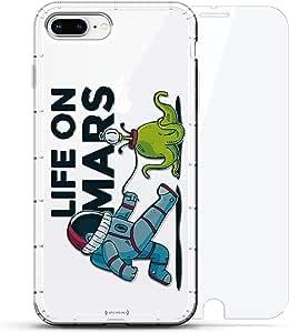 豪华设计师,3D 印花,时尚,气袋垫,360 玻璃保护膜套装手机壳 iPhone 8/7 Plus - 透明LUX-I8PLAIR360-MARS1 LIFE ON MARS 透明