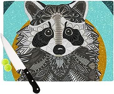 "Kess InHouse Art Love Passion""Grass中的浣熊""切割板,灰色 灰色 11.5 by 15.75-Inch AP1005ACB02"