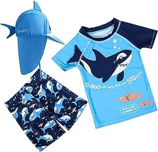 XmasPJS 婴儿幼儿男孩两件套泳衣套装鲨鱼泳衣*连帽泳衣 UPF 50+