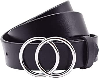 "女式皮革腰带 Vonsely 真皮女式皮带,带金色扣 Double Silver O-ring Black Suit Waistline 28""-32"""