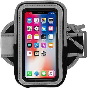 手机臂带跑步和锻炼 - 健身手机支架可调节臂带和拉链口袋 - 通用臂带 iPhone X、6、5、Galaxy S9、S8、S7、S6、Pixel、LG & Motorola 20 英寸 Black Gray 20