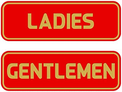 "All Quality Standard 女士绅士休息室标志(2 件装) Red/Gold 2-1/2"" x 7"" - Medium AQS-LGRS-MREDG"