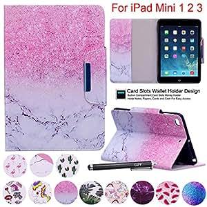 iPad Mini 1 2 3 4 保护套,Newshine PU 皮革翻盖支架钱包智能保护套带自动*/唤醒信用卡插槽背面外壳,适用于苹果 iPad Mini 1、2、3 和* 4 代 1 个沙子大理石