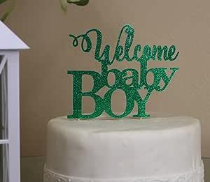 all ABOUT 详细信息绿色欢迎婴儿男孩蛋糕装饰