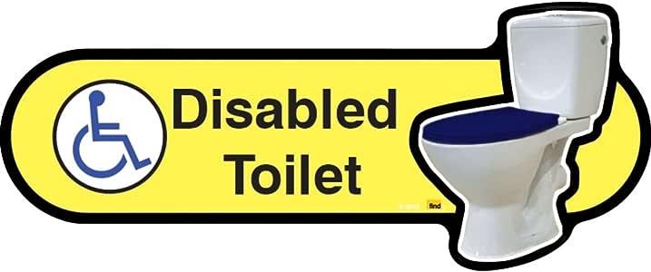 Dementia 友好型厕所标志 - 黄色标牌带蓝色座椅 - 480 毫米宽,带螺丝固定装置