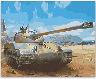 Fengtuo DIY 油画 Number Kit 油画 手绘 装饰图片 - 花朵和海洋和车辆设计 40.64cm X 50.80cm 背心 Without Frame FENGTUO-125