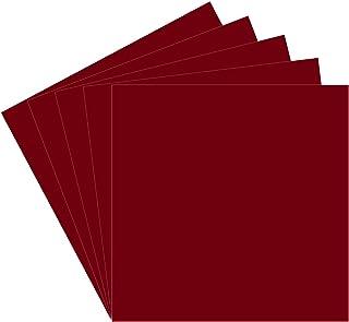 5 张酒红色 Oracal 651 乙烯基板,30.48 x 30.48 cm 酒红色永久粘合背衬乙烯基板,室内/室外刻字、标记、装饰、汽车贴花、窗户图形、工艺剪刀