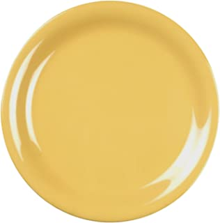 Global Goodwill 12-Piece Narrow Rim Plate, 7-1/4-Inch, Yellow