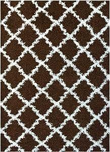 RugStylesOnline Shaggy 系列格子图案地毯