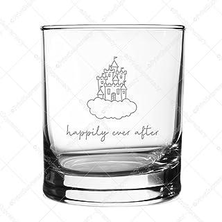 Happily Ever After-26.67 克 Rocks 玻璃激光蚀刻啤*杯 美国制造婚礼礼物、结婚玻璃马克杯、新娘派对礼物、新娘礼物、情人节礼物、周年纪念日礼物、订婚礼品