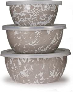 Enamelware - 美食碗 Taupe Swirl 3,4, and 6 cup capacity TP30