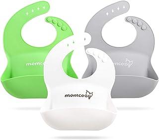 Momcozy 硅胶婴儿围兜 3 件装,易清洁,柔软可调节幼儿硅胶围兜,男女宝宝通用,防水,*白色和灰色