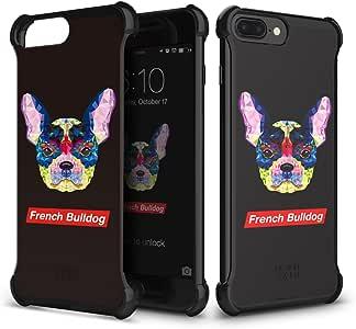 iPhone 7 Plus 手机壳(5.5 英寸)DesignSkin [四角]减震超薄超薄轻质保护透明后壳简约手机壳IP7PDSCN7302 法国斗牛犬