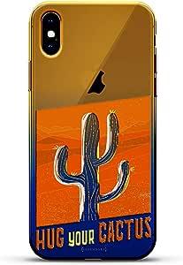 奢华设计师,3D 印花,时尚,高端,高端,Chameleon 变色效果手机壳 iPhone Xs MaxLUX-IMXCRM2B-HUG4 Hug Your Cactus Dusk Blue