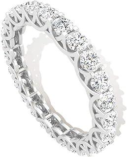 1.70 克拉爪镶圆形 SGL 认证钻石全永恒戒指,复古新娘结婚周年情侣戒指,母亲节可堆叠戒指