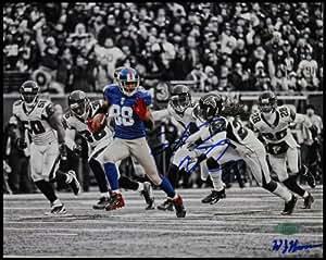 NFL 纽约巨人队 Hakeem Nicks 签名渔获赛跑与 Falcons 水平 B&W 彩色照片,20.32x25.40 cm