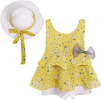 幼童女婴衣服花卉背心 T 恤上衣 + 可爱的太阳帽短裤 3 件套夏季套装黄色 黄色 6T / 7T