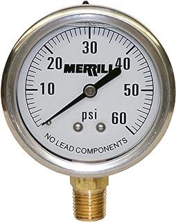 Merrill MFG PGLNL60 0-60 PSI 无铅液体填充不锈钢表壳压力表,黄铜/不锈钢