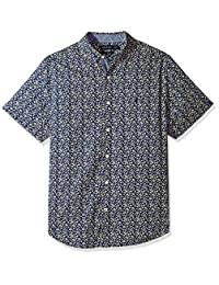 Nautica 男士短袖签名印花系扣衬衫