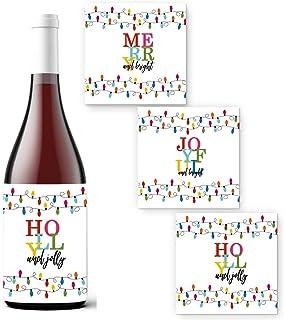 圣诞礼物的节日酒瓶标签(15 个装)节日贴纸 Jolly 派对用品 多种用途