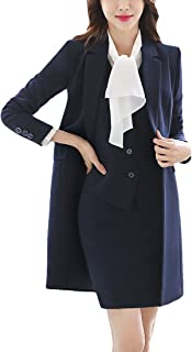MFrannie 女式缺口翻领商务工作 OL 修身长外套
