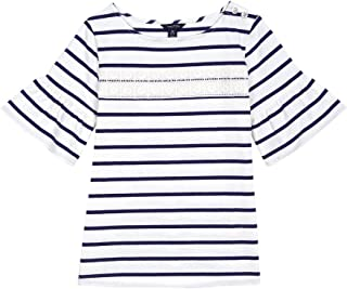 Nautica Girls' Stripe Top with Bell Sleeve