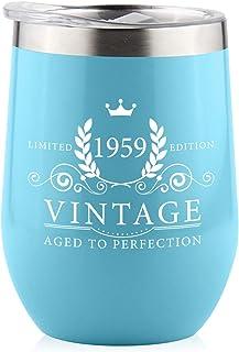 1979 年 40 岁生日礼物男女通用 - 防溅水 354.84 毫升不锈钢酒杯 | 送给她妻子的有趣礼物创意 | 送给她的妻子 妈 Grandma Him Dad | 绝缘酒杯 适用于 30、50、60、70 岁、70 岁、她 蓝色 1959 B1959