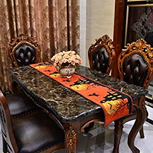 """OWNFUN Halloween Table Runners for Rectangle Tables Place Mats Table Cover with Pumpkin Witch Bat for Halloween Party (71"""" L×13"""" W)"""