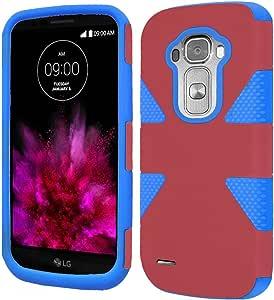 For LG G Flex 2 Dynamic Slim Rugged Hybrid Dual Layer Cover Case Marsala/Sky Blue