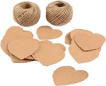 牛皮纸礼品标签 100 件带黄麻双* 328 英尺 Heart Paper Tags Brown