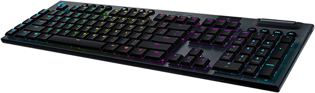 Logitech G915 LIGHTSPEED Wireless Lightsync RGB Mechanical Gaming Keyboard Ultra Thin Design with Low-profile mechanical GL Tactile Key switch - Carbon
