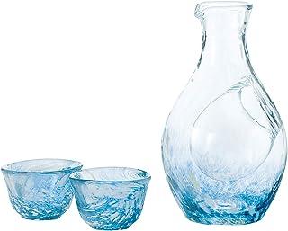 東洋佐々木ガラス 东洋佐佐木玻璃 冷酒玻璃杯套装 蓝色 玻璃水瓶 300ml 玻璃 55ml 3件装 G604-M70 日本制造