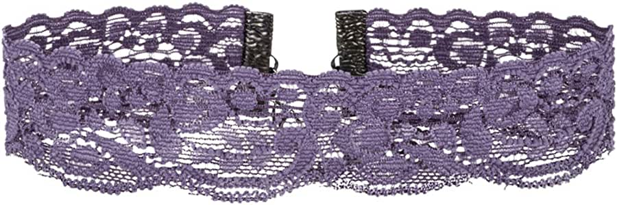 Twilight's Fancy Floral Elastic Stretch Lace Choker Necklace (XXLarge, Dark Lavender)