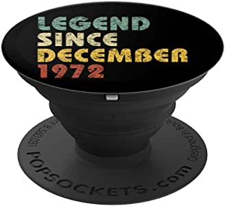 Legend Since 1972 年 12 月 复古生日 生日礼物 PopSockets 手机和平板电脑握架260027  黑色