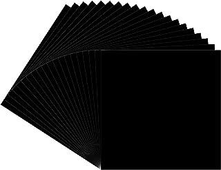 30.48 厘米 x 30.48 厘米黑色永久粘合背衬乙烯基板,20(光泽饰面)Oracal 651 乙烯基黑色用于室内/室外标记、字母、装饰、标牌、贴花、十字架窗户图形……