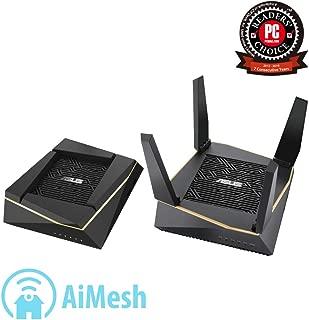 ASUS 华硕 RT-AX92U AX6100 Wi-Fi 6三频家庭式Mesh Wi-Fi系统,适用于大型和多层房屋,灵活的SSID设置,有线Inter-Router连接,AiProtection,Trend Micro Security,,2件装