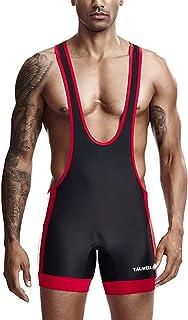 Sandbank 男士运动摔跤汗衫无袖连身衣拼接短裤汗衫男士摔跤制服